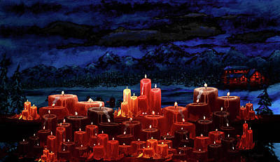 Log Cabin Painting - Winter Lakes Candle Light 2 by Ken Figurski