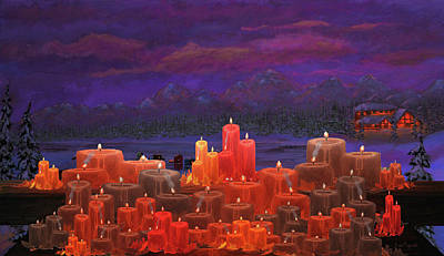 Christmas Eve Painting - Winter Lakes Candle Light by Ken Figurski