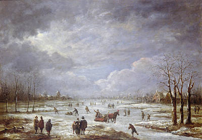 Skating Painting - Winter Landscape by Aert van der Neer