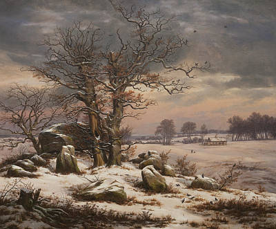 Winter Landscape Print by Johan Christian Dahl