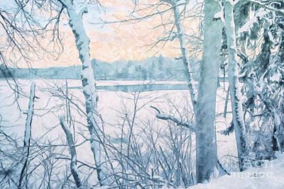 Winter Landscape Print by Jutta Maria Pusl