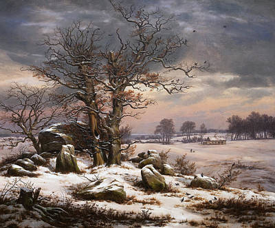 Johan Christian Dahl Painting - Winter Landscape. Near Vordingborg by Johan Christian Dahl