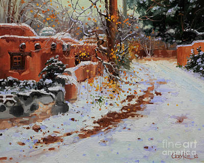 Rooftops Painting - Winter Landscape Of Santa Fe by Gary Kim