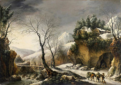 Painting - Winter Landscape Probably The Tunnel Through The Cliffs At Il Furlo by Francesco Foschi