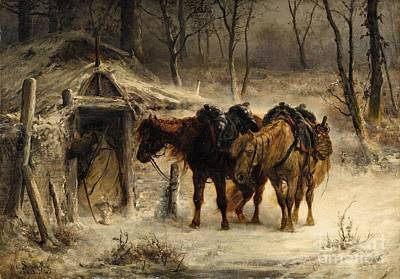 Winter Landscape With A Huntsman And Horses Print by Celestial Images