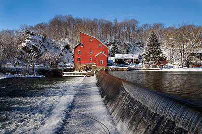 Grist Mill Photograph - Winter Landscape With A Red Mill Clinton New Jersey by George Oze