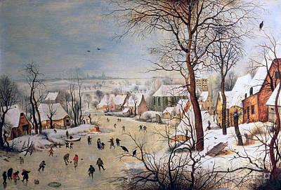 With Painting - Winter Landscape With Birdtrap by Pieter the elder Bruegel