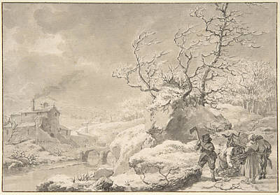 Drawing - Winter Landscape With Peasants Gathering And Chopping Wood by Jacob Cats