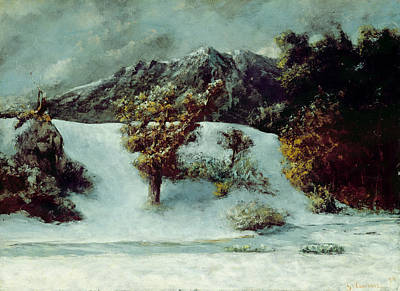 Midi Painting - Winter Landscape With The Dents Du Midi by Gustave Courbet