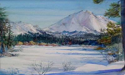 Lassen Painting - Winter Manzanita Lake by Howard Luke Lucas