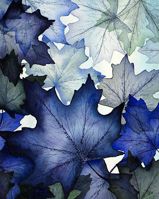 Translucent Painting - Winter Maple Leaves by Christina Meeusen
