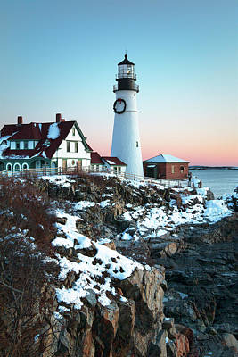 Winter Morning At Portland Head Lighthouse Print by Eric Gendron