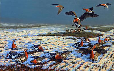 Snow Geese Painting - Winter Morning In Primorska Dobrudja by Valentin Katrandzhiev