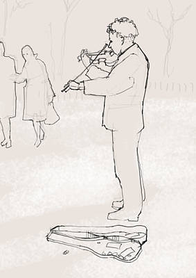 Violin Drawing - Winter Music by H James Hoff