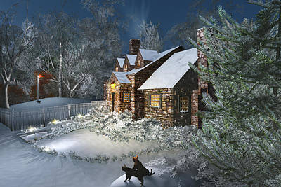 Winter Night Print by Mary Almond