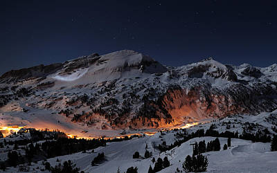 Snowy Night Photograph - Winter Night On The Slopes by Mountain Dreams
