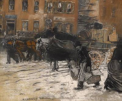 21st Drawing - Winter On 21st Street - New York by Mountain Dreams