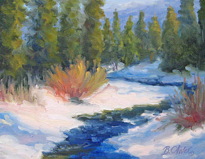 Winter On Gore Creek Print by Bunny Oliver
