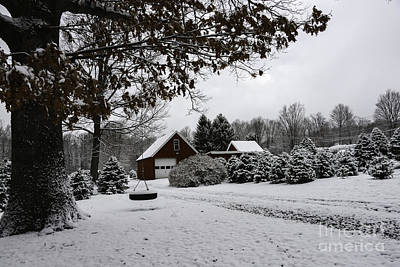 Red Barn In Winter Photograph - Winter On The Farm by Amanda Sinco