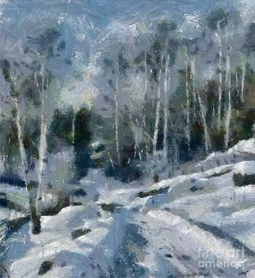 Birch Painting - Winter Path by Dragica Micki Fortuna