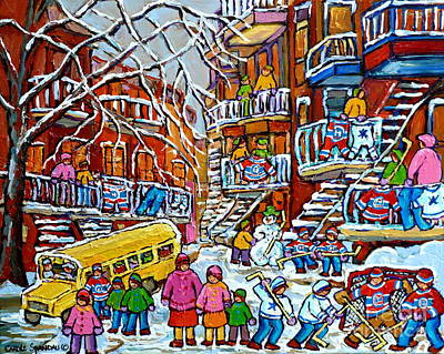 Montreal Winter Scenes Painting - Winter Playground Staircase Scene Balconville Hockey Sweaters Wash Day Montreal Memories C Spandau by Carole Spandau