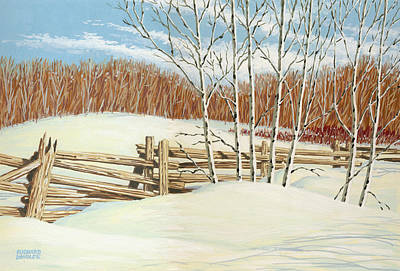 Snowscape Painting - Winter Poplars 2 by Richard De Wolfe