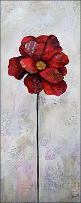 Maroon Painting - Winter Poppy II by Shadia Derbyshire