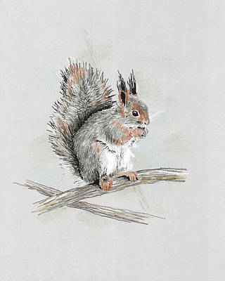 Wildlife Celebration Painting - Winter Red Squirrel by Masha Batkova