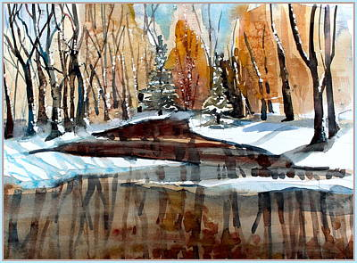 Winter Landscapes Drawing - Winter Reflections by Mindy Newman