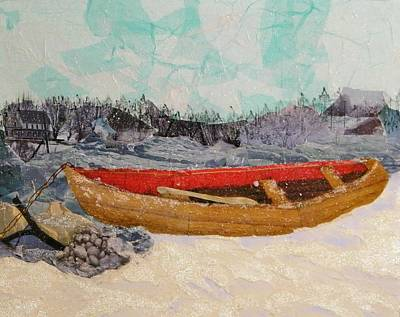 Canoe Mixed Media - Winter Rest by Terry Honstead