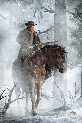 Pinto Digital Art - Winter Rider by Daniel Eskridge