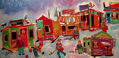 Painting - Winter River Sports Quebec by Michael Litvack