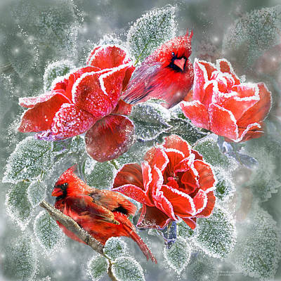 Flowers And Roses Mixed Media - Winter Roses And Cardinals by Carol Cavalaris