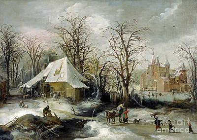 Winter Scene Painting - Winter Scene by Celestial Images