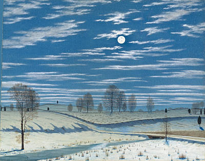 Drawing - Winter Scene In Moonlight by Henry Farrer