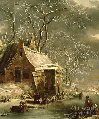 Snowy Trees Painting - Winter Scene by Jan Beerstraten