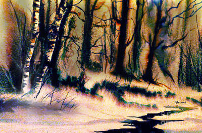 Woodlands Scene Mixed Media - Winter Scene by Teresa Ascone