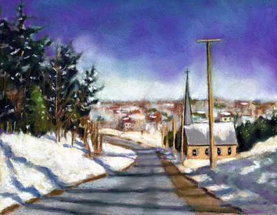 Pastel - Winter Scene With Church by Joyce Geleynse