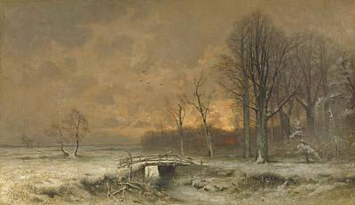 Winter Scene Painting - Winter Scene With Setting Sun by Movie Poster Prints