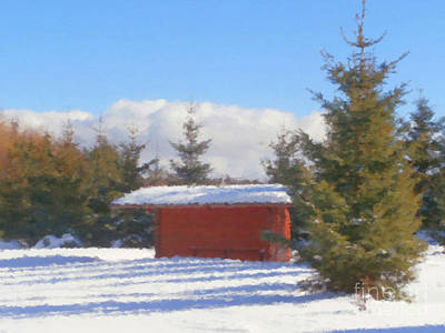 Log Cabin Art Mixed Media - Winter Shack by Miroslav Nemecek