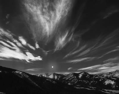 Moon Photograph - Winter Sky by Leland D Howard