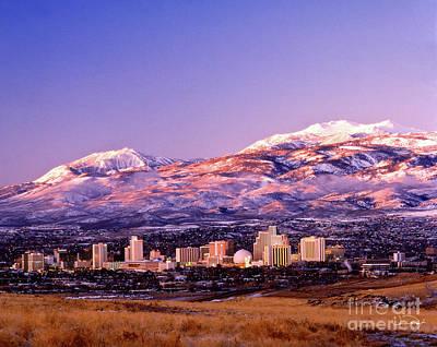 Winter Skyline Of Reno Nevada Print by Vance Fox