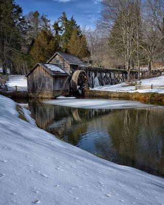 Winter Snow At Mabry Mill Print by Steve Hurt