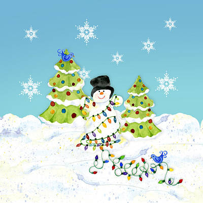 Winter Snowman - All Tangled Up In Lights Snowflakes Print by Audrey Jeanne Roberts