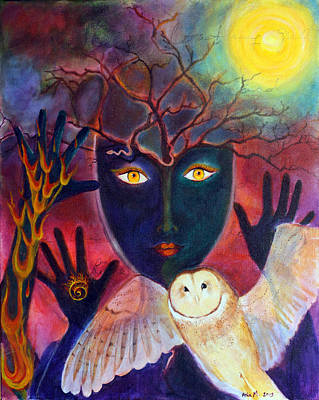 Sacred Feminine Moon Painting - Winter Solstice by Asia Morgenthaler