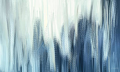 Of Cool Colors Painting - Winter Sorrows - Blue And White Abstract by Lourry Legarde