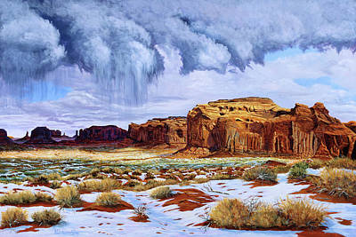 Sage Brush Painting - Winter Storm In Mystery Valley by Timithy L Gordon