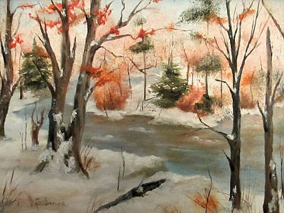 Winter Stream Print by Roseann Gilmore