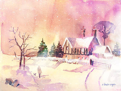 Snow Scene Painting - Winter Stroll by Arline Wagner