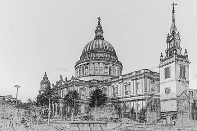 Wren Digital Art - Winter Sun St Paul's Poster Bw by Gary Eason